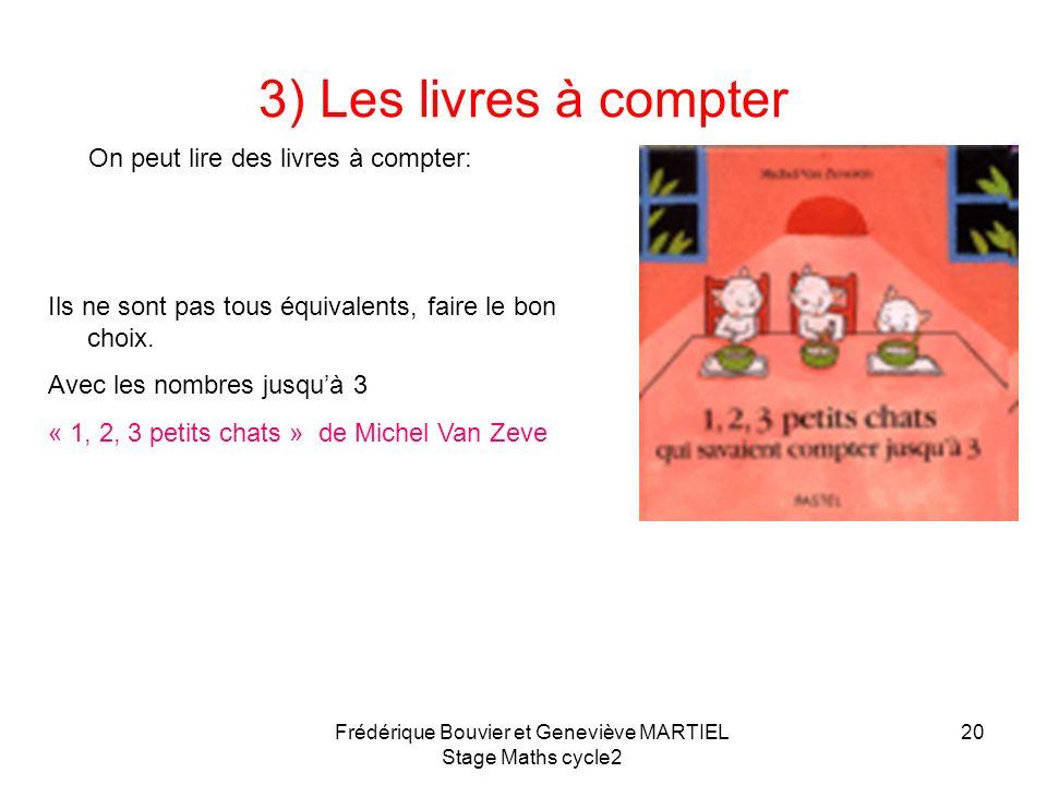 Frédérique Bouvier et Geneviève MARTIEL Stage Maths cycle2 19 2) Comptines numériques: des références 3 sites: Jean-Louis Sigrist CDDP du Haut Rhin Mo