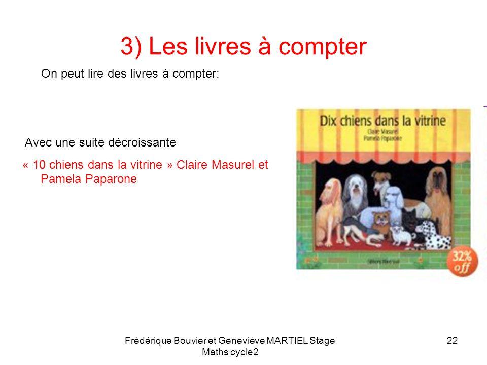 Frédérique Bouvier et Geneviève MARTIEL Stage Maths cycle2 21 3) Les livres à compter On peut lire des livres à compter: Avec une petite croissante de