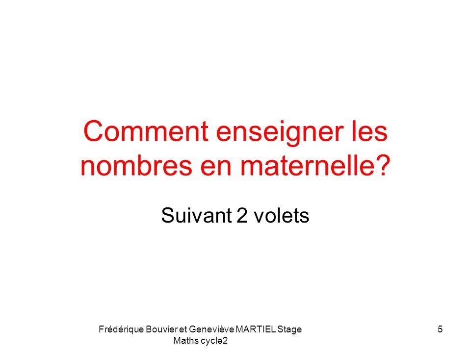 Frédérique Bouvier et Geneviève MARTIEL Stage Maths cycle2 Repères pédagogiques A la fin de lécole maternelle, lélève est capable de: - comparer des q
