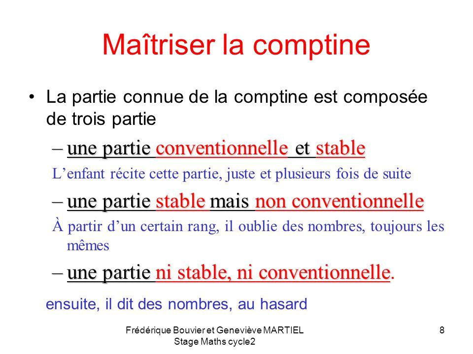 7 Maîtriser la comptine Il est nécessaire que lenfant maîtrise la comptine des nombres Il sera, en général, capable de dénombrer moins loin que la com