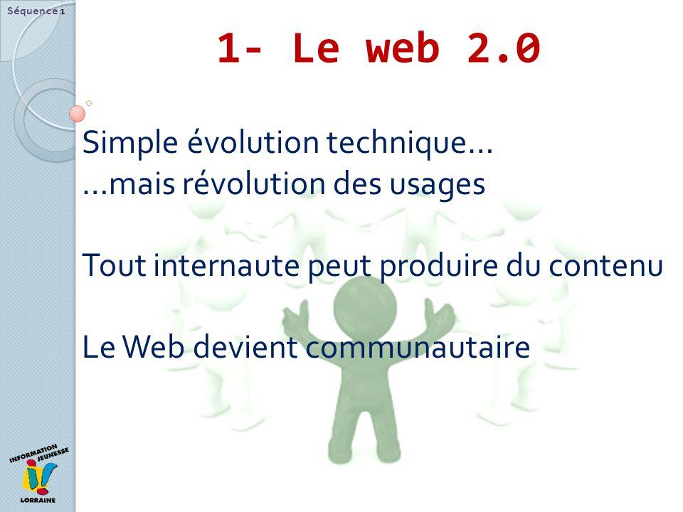 1- Le web 2.0 Séquence 1 Simple évolution technique… …mais révolution des usages Tout internaute peut produire du contenu Le Web devient communautaire