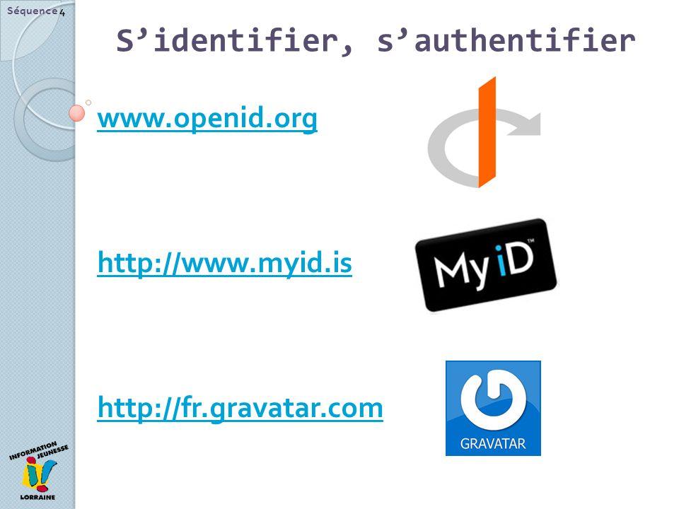 Séquence 4 www.openid.org http://www.myid.is http://fr.gravatar.com Sidentifier, sauthentifier