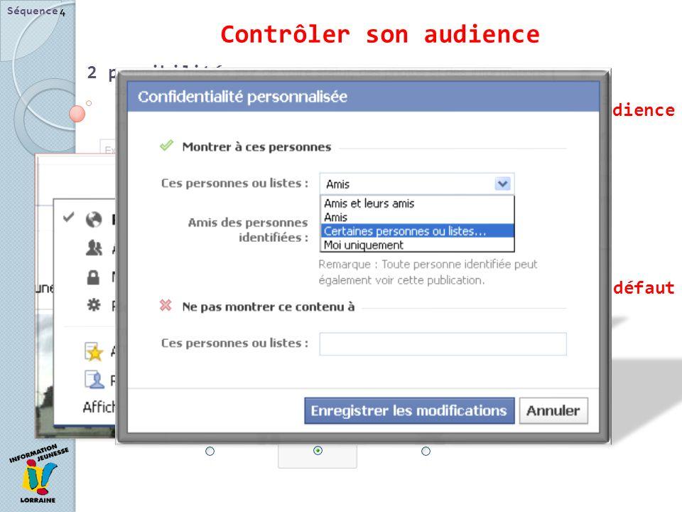 Contrôler son audience 2 possibilités : Au cas par cas avec le Sélecteur daudience Les paramètres de confidentialité par défaut