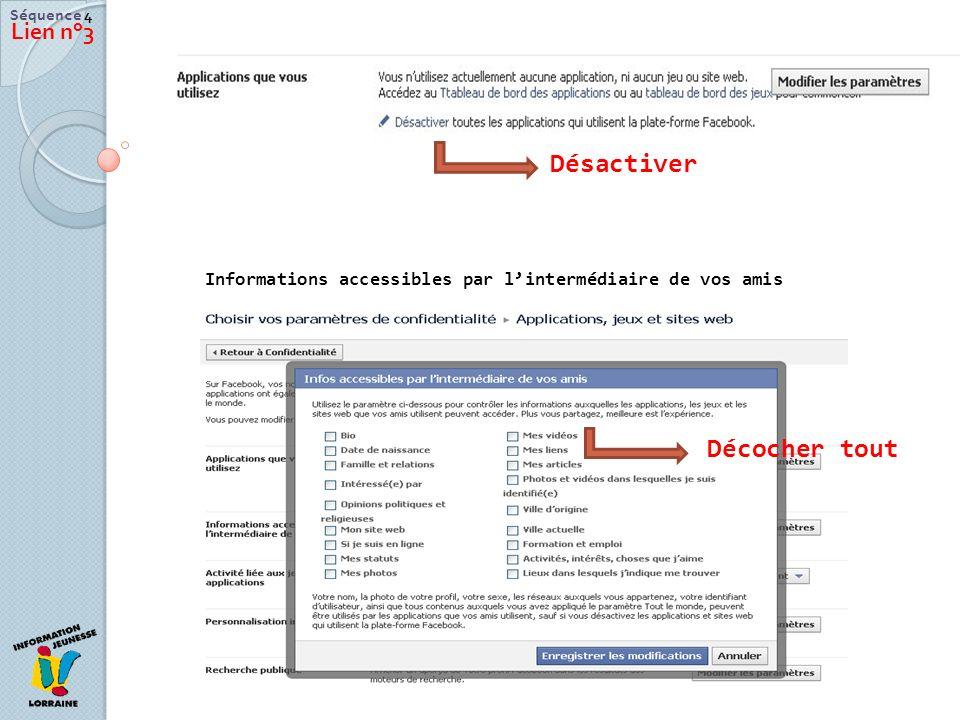Séquence 4 Lien n°3 Désactiver Décocher tout Informations accessibles par lintermédiaire de vos amis