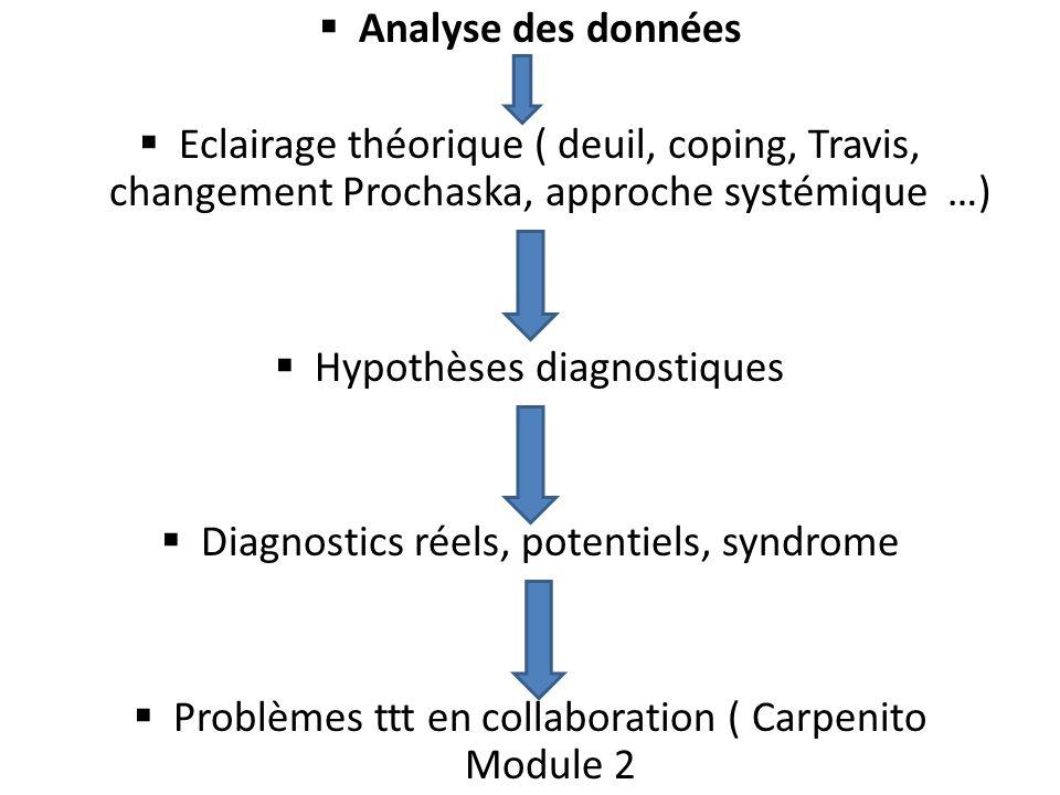 Analyse des données Eclairage théorique ( deuil, coping, Travis, changement Prochaska, approche systémique …) Hypothèses diagnostiques Diagnostics rée