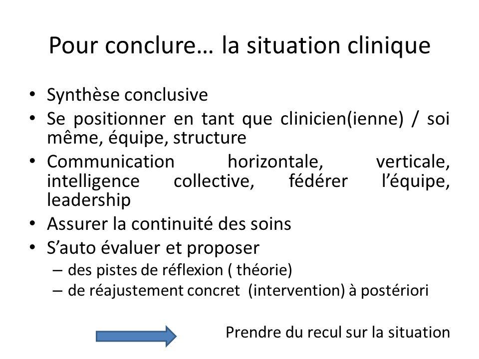 Pour conclure… la situation clinique Synthèse conclusive Se positionner en tant que clinicien(ienne) / soi même, équipe, structure Communication horiz