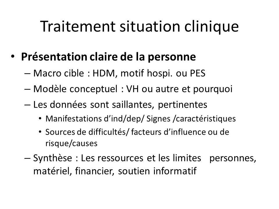 Traitement situation clinique Présentation claire de la personne – Macro cible : HDM, motif hospi. ou PES – Modèle conceptuel : VH ou autre et pourquo