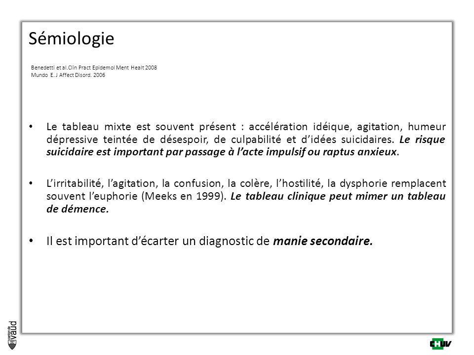 Sémiologie Benedetti et al.Clin Pract Epidemol Ment Healt 2008 Mundo E. J Affect Disord. 2006 Le tableau mixte est souvent présent : accélération idéi