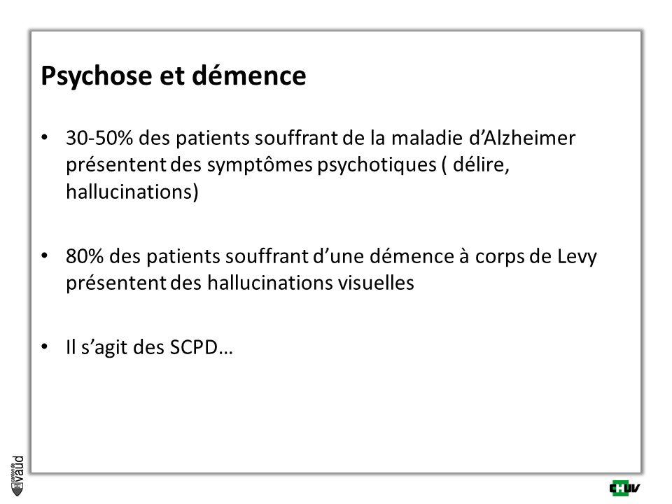 Psychose et démence 30-50% des patients souffrant de la maladie dAlzheimer présentent des symptômes psychotiques ( délire, hallucinations) 80% des pat