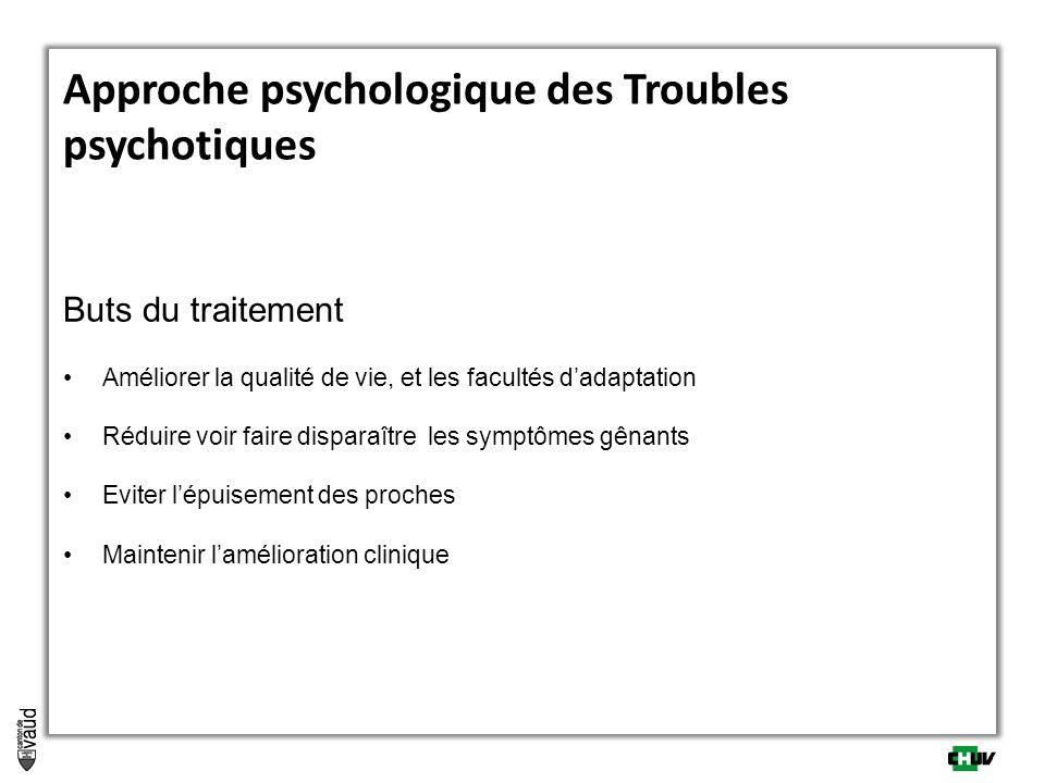 Approche psychologique des Troubles psychotiques Buts du traitement Améliorer la qualité de vie, et les facultés dadaptation Réduire voir faire dispar