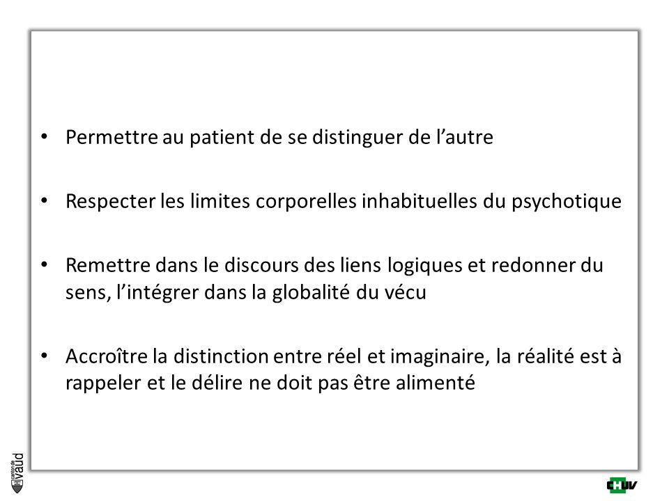 Permettre au patient de se distinguer de lautre Respecter les limites corporelles inhabituelles du psychotique Remettre dans le discours des liens log
