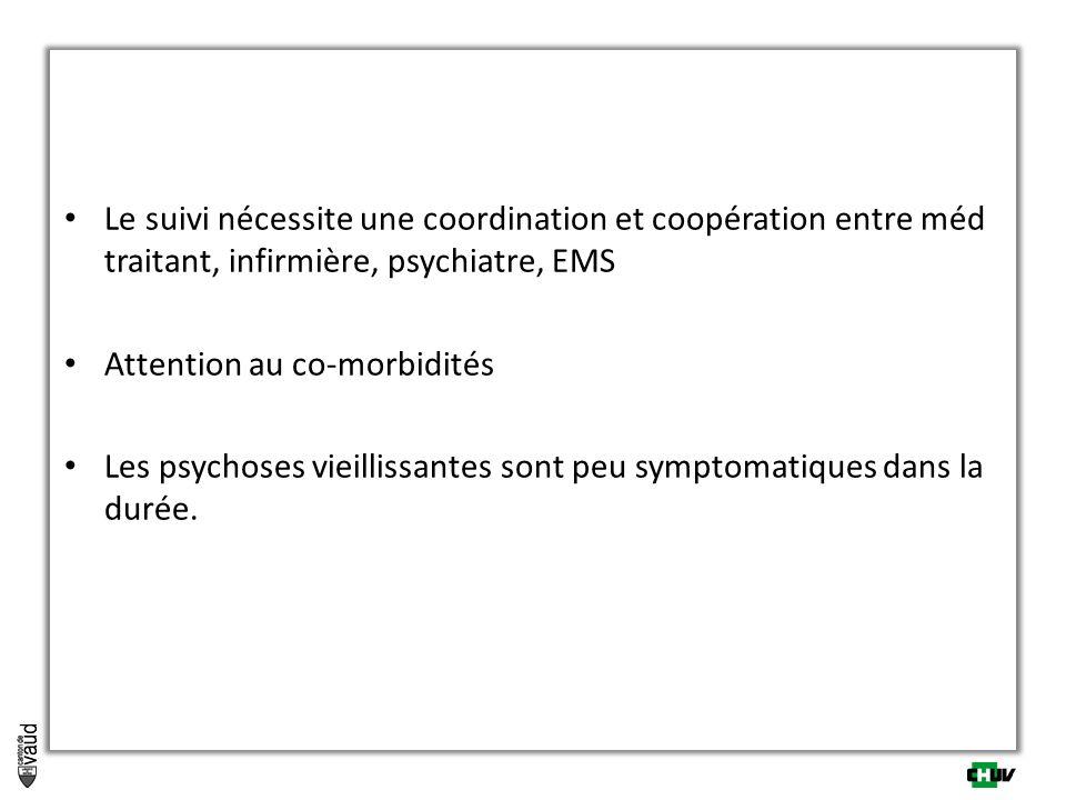Le suivi nécessite une coordination et coopération entre méd traitant, infirmière, psychiatre, EMS Attention au co-morbidités Les psychoses vieillissa