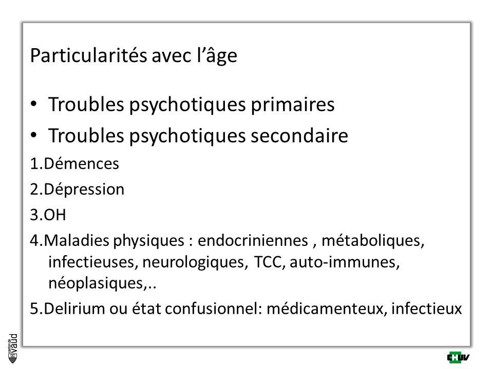Particularités avec lâge Troubles psychotiques primaires Troubles psychotiques secondaire 1.Démences 2.Dépression 3.OH 4.Maladies physiques : endocrin