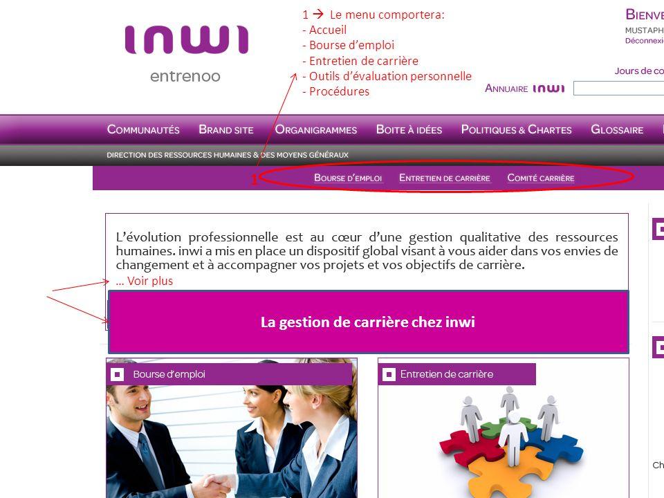 … Voir plus La gestion de carrière chez inwi 1 1 Le menu comportera: - Accueil - Bourse demploi - Entretien de carrière - Outils dévaluation personnel