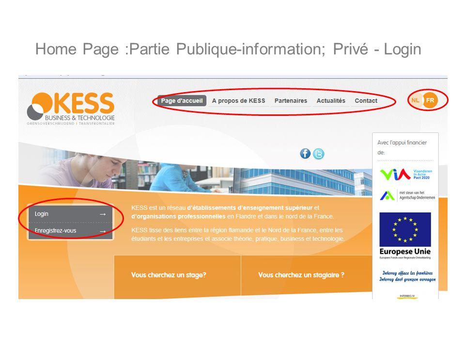 Home Page :Partie Publique-information; Privé - Login
