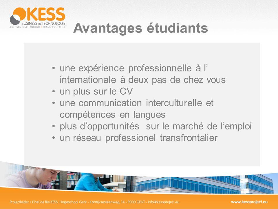 Avantages étudiants une expérience professionnelle à l internationale à deux pas de chez vous un plus sur le CV une communication interculturelle et compétences en langues plus dopportunités sur le marché de lemploi un réseau professionel transfrontalier