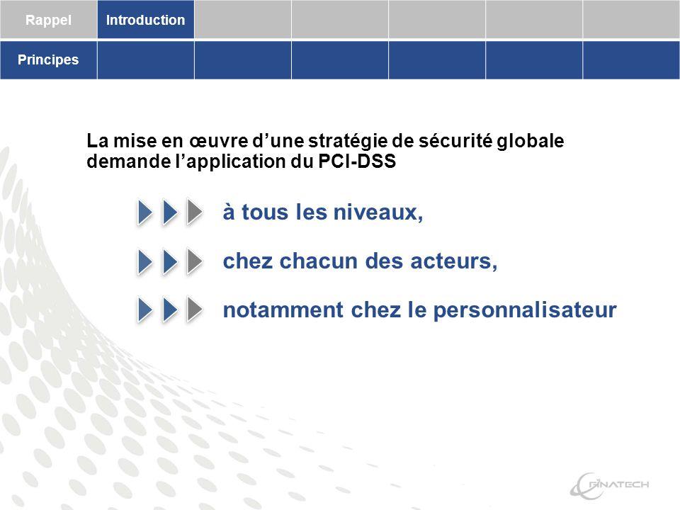 RappelIntroduction Principes La mise en œuvre dune stratégie de sécurité globale demande lapplication du PCI-DSS à tous les niveaux, chez chacun des acteurs, notamment chez le personnalisateur