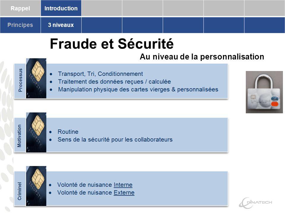 RappelIntroduction Principes3 niveaux Fraude et Sécurité Au niveau de la personnalisation