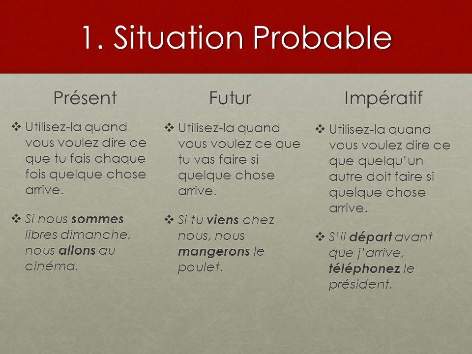 1. Situation Probable Présent Utilisez-la quand vous voulez dire ce que tu fais chaque fois quelque chose arrive. Utilisez-la quand vous voulez dire c