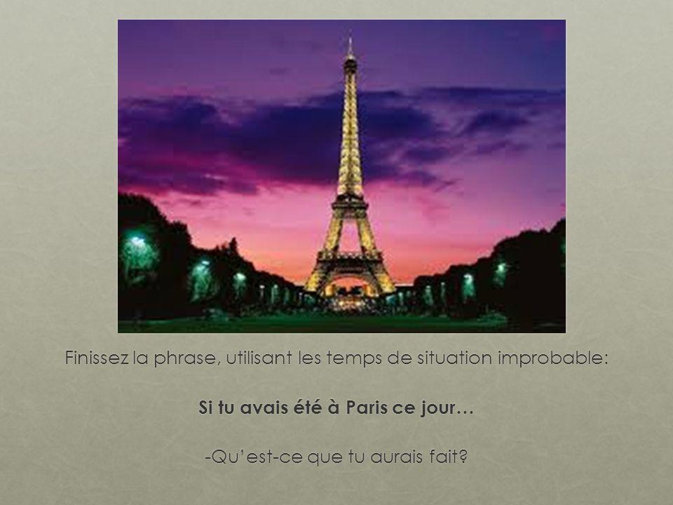 Finissez la phrase, utilisant les temps de situation improbable: Si tu avais été à Paris ce jour… -Quest-ce que tu aurais fait