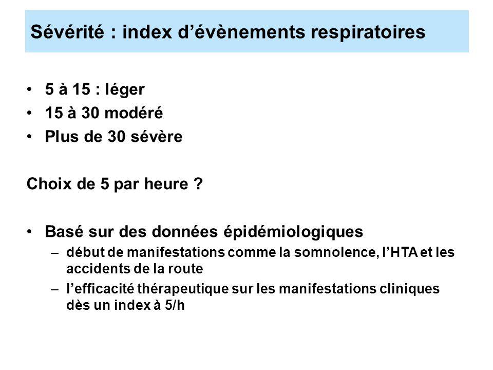 Sévérité : index dévènements respiratoires 5 à 15 : léger 15 à 30 modéré Plus de 30 sévère Choix de 5 par heure ? Basé sur des données épidémiologique