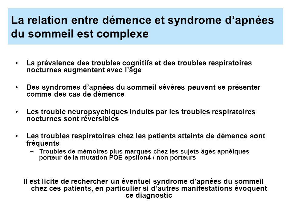 La relation entre démence et syndrome dapnées du sommeil est complexe La prévalence des troubles cognitifs et des troubles respiratoires nocturnes aug