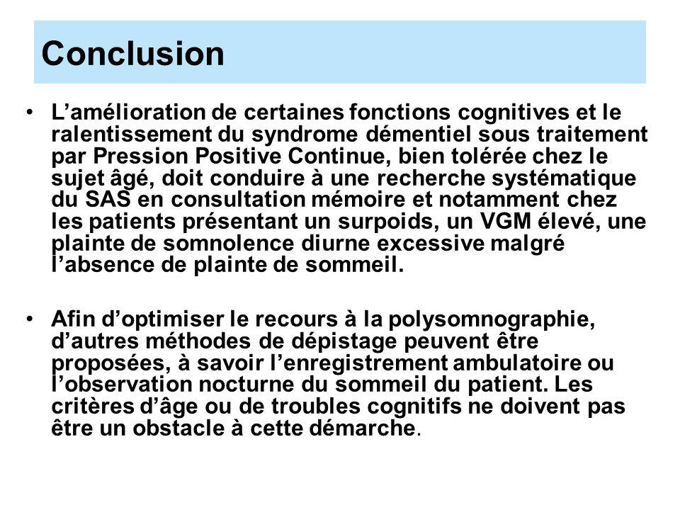 Conclusion Lamélioration de certaines fonctions cognitives et le ralentissement du syndrome démentiel sous traitement par Pression Positive Continue,