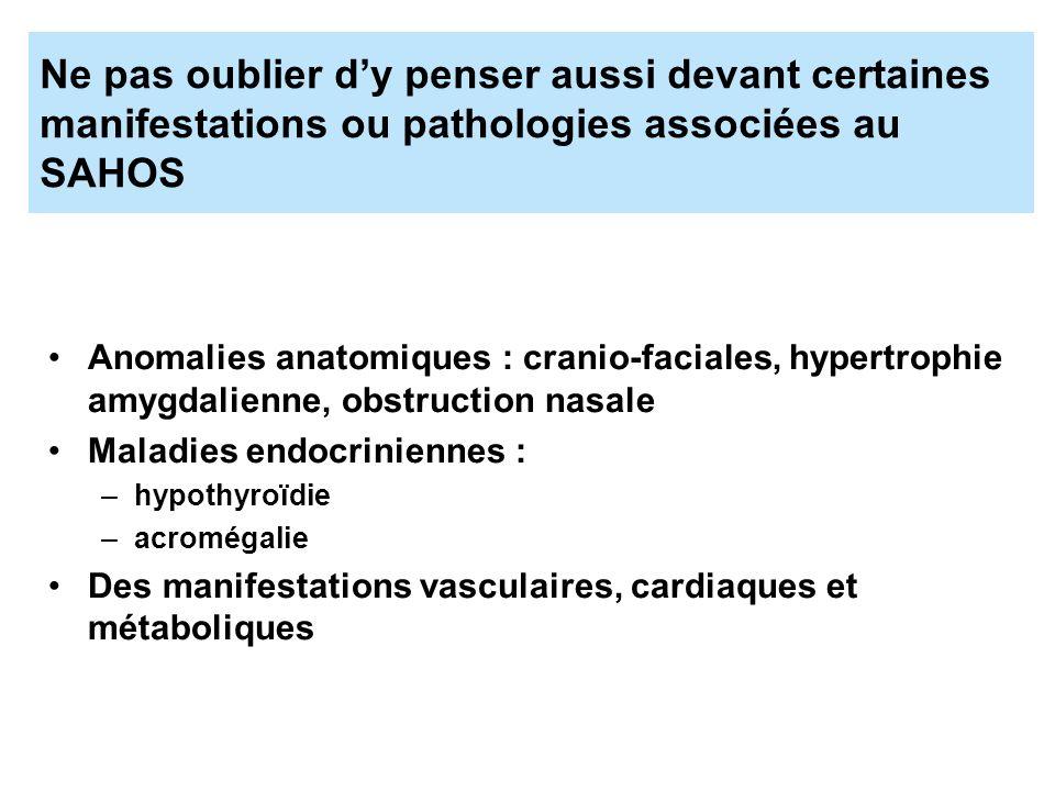Ne pas oublier dy penser aussi devant certaines manifestations ou pathologies associées au SAHOS Anomalies anatomiques : cranio-faciales, hypertrophie