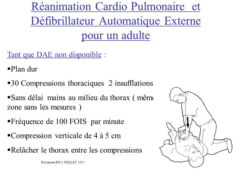 Réanimation Cardio Pulmonaire et Défibrillateur Automatique Externe pour un adulte Tant que DAE non disponible : Plan dur 30 Compressions thoraciques