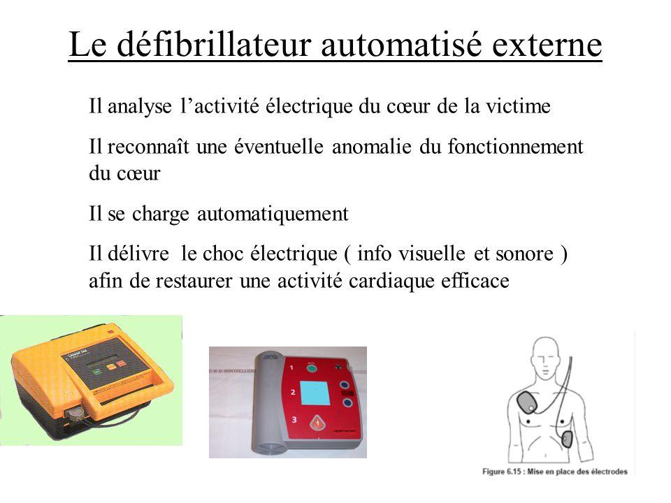 Le défibrillateur automatisé externe Il analyse lactivité électrique du cœur de la victime Il reconnaît une éventuelle anomalie du fonctionnement du c
