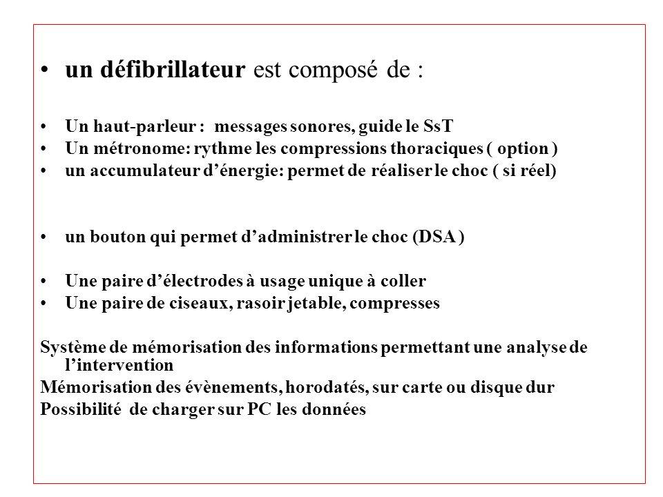 un défibrillateur est composé de : Un haut-parleur : messages sonores, guide le SsT Un métronome: rythme les compressions thoraciques ( option ) un ac