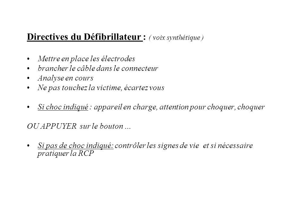 Directives du Défibrillateur : ( voix synthétique ) Mettre en place les électrodes brancher le câble dans le connecteur Analyse en cours Ne pas touche