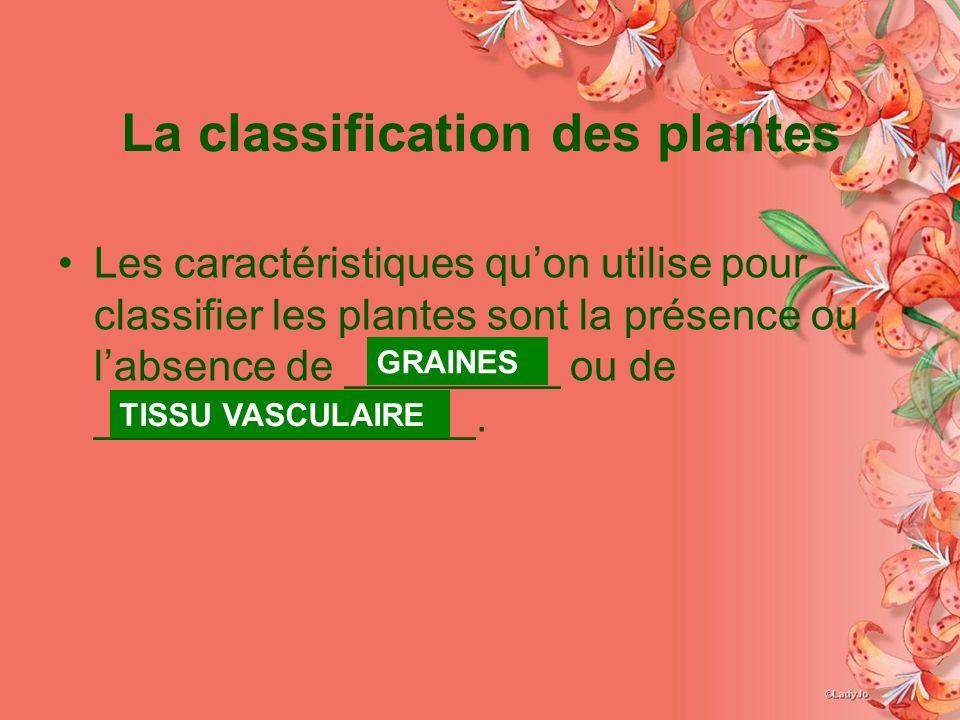 La classification des plantes Les caractéristiques quon utilise pour classifier les plantes sont la présence ou labsence de _________ ou de ________________.