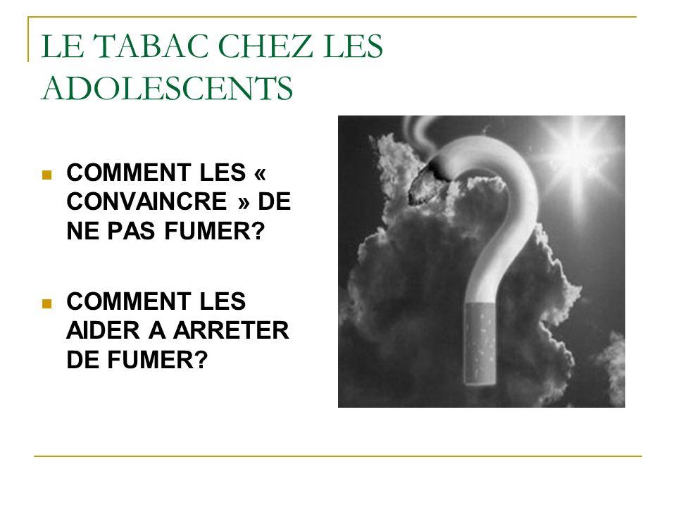 LE TABAC CHEZ LES ADOLESCENTS COMMENT LES « CONVAINCRE » DE NE PAS FUMER? COMMENT LES AIDER A ARRETER DE FUMER?