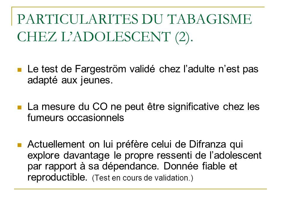PARTICULARITES DU TABAGISME CHEZ LADOLESCENT (2). Le test de Fargeström validé chez ladulte nest pas adapté aux jeunes. La mesure du CO ne peut être s