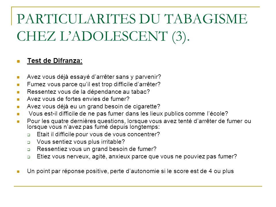 PARTICULARITES DU TABAGISME CHEZ LADOLESCENT (3). Test de Difranza: Avez vous déjà essayé darrêter sans y parvenir? Fumez vous parce quil est trop dif
