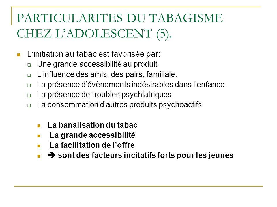 PARTICULARITES DU TABAGISME CHEZ LADOLESCENT (5). Linitiation au tabac est favorisée par: Une grande accessibilité au produit Linfluence des amis, des