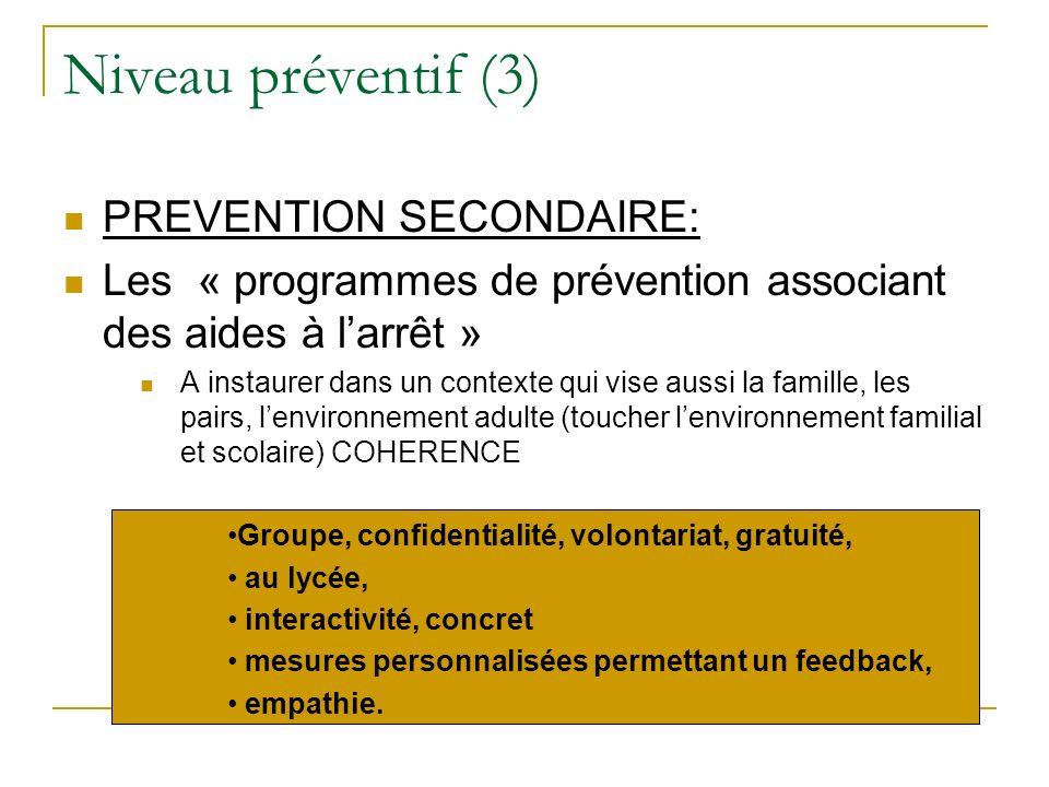 Niveau préventif (3) PREVENTION SECONDAIRE: Les « programmes de prévention associant des aides à larrêt » A instaurer dans un contexte qui vise aussi