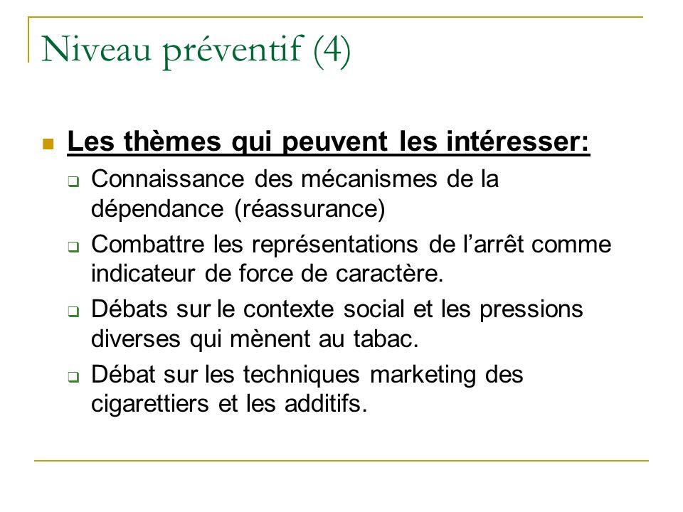 Niveau préventif (4) Les thèmes qui peuvent les intéresser: Connaissance des mécanismes de la dépendance (réassurance) Combattre les représentations d