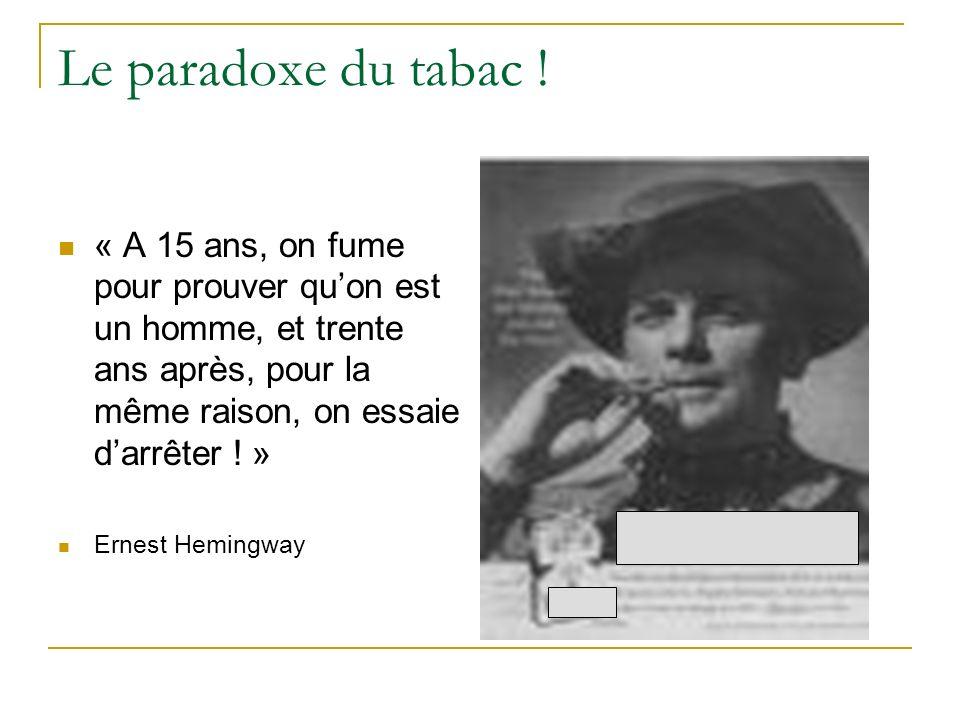 Le paradoxe du tabac ! « A 15 ans, on fume pour prouver quon est un homme, et trente ans après, pour la même raison, on essaie darrêter ! » Ernest Hem