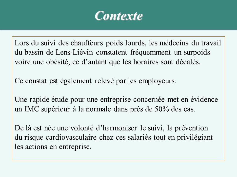 Objectif Favoriser le suivi et la prévention du risque cardiovasculaire chez les salariés chauffeurs poids lourd au sein du service de santé au travail