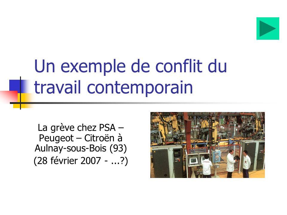 Un exemple de conflit du travail contemporain La grève chez PSA – Peugeot – Citroën à Aulnay-sous-Bois (93) (28 février 2007 -...?)