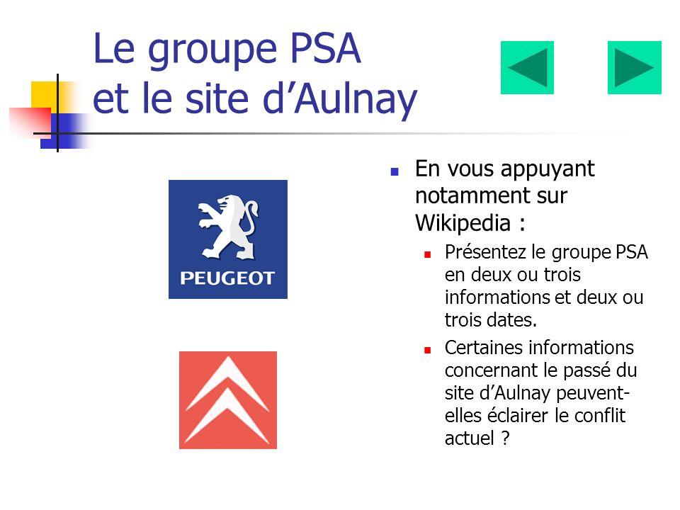Le groupe PSA et le site dAulnay En vous appuyant notamment sur Wikipedia : Présentez le groupe PSA en deux ou trois informations et deux ou trois dates.