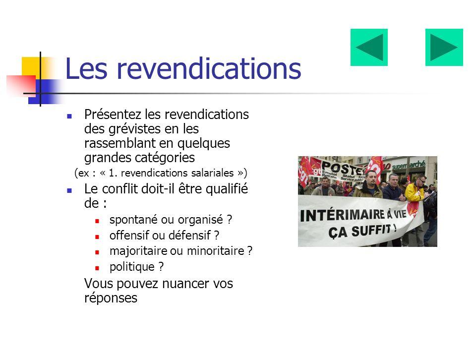 Les revendications Présentez les revendications des grévistes en les rassemblant en quelques grandes catégories (ex : « 1.