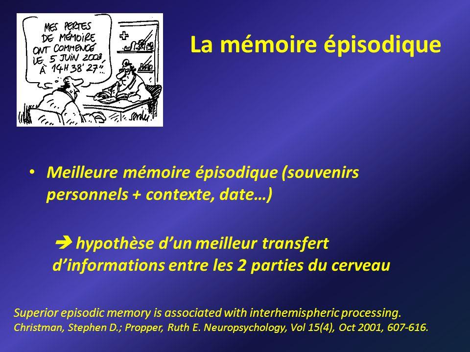 Meilleure mémoire épisodique (souvenirs personnels + contexte, date…) hypothèse dun meilleur transfert dinformations entre les 2 parties du cerveau La