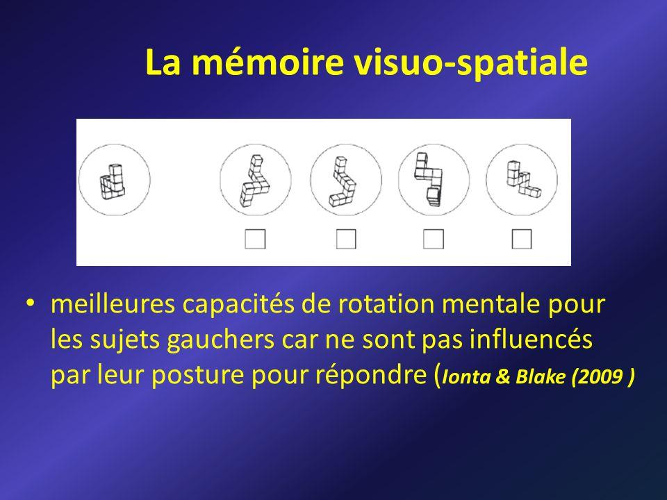 La mémoire visuo-spatiale meilleures capacités de rotation mentale pour les sujets gauchers car ne sont pas influencés par leur posture pour répondre ( Ionta & Blake (2009 )