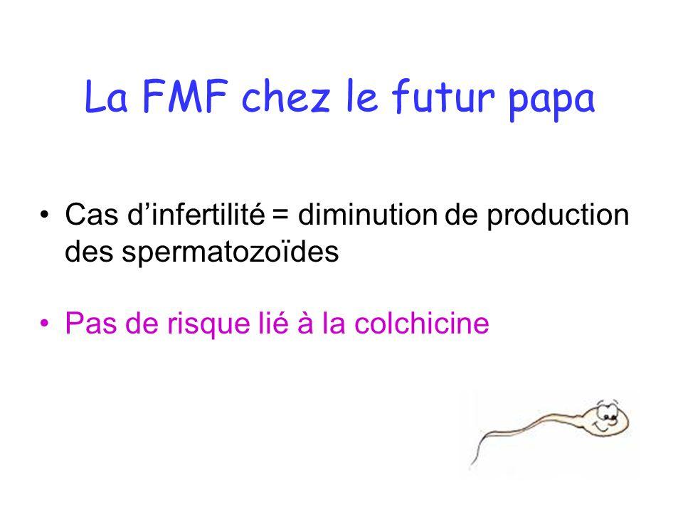 La FMF chez le futur papa Cas dinfertilité = diminution de production des spermatozoïdes Pas de risque lié à la colchicine