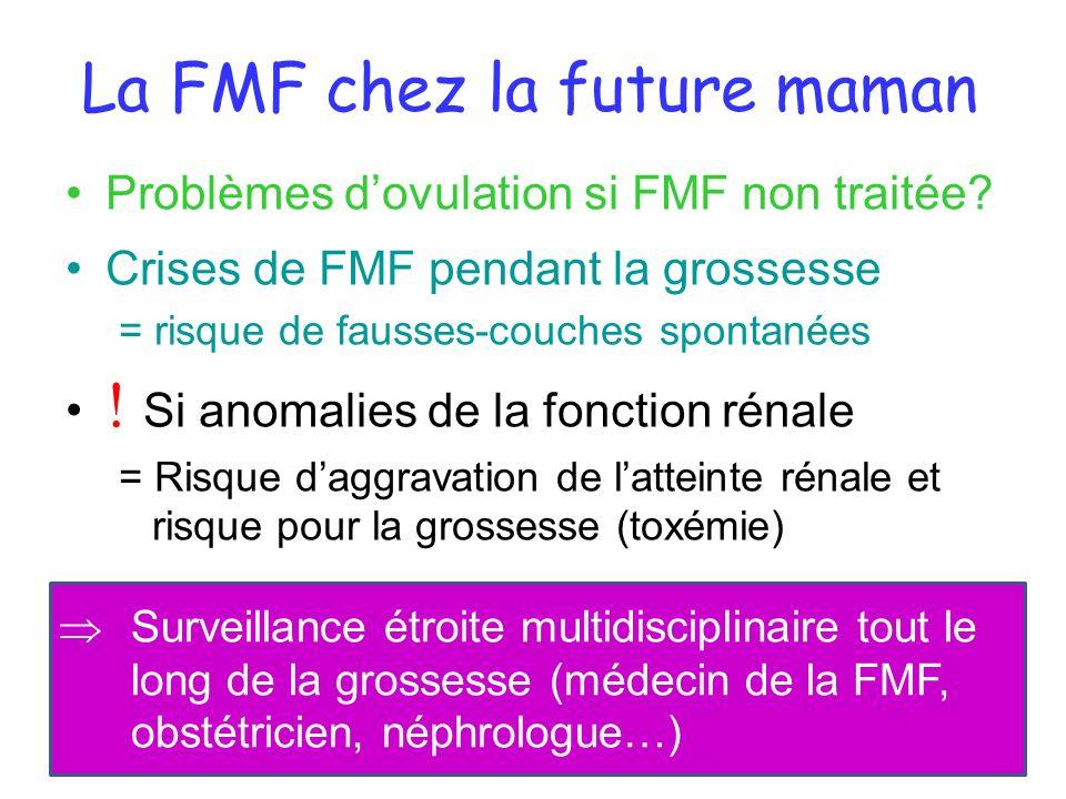 La FMF chez la future maman Problèmes dovulation si FMF non traitée? Crises de FMF pendant la grossesse = risque de fausses-couches spontanées Si anom