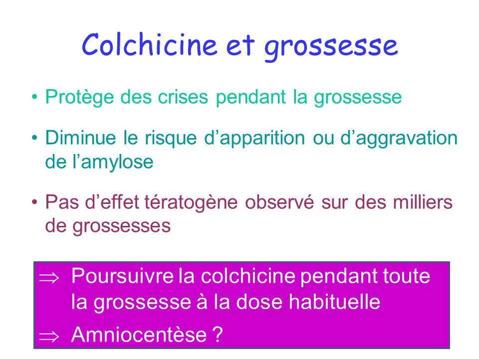 Colchicine et grossesse Protège des crises pendant la grossesse Diminue le risque dapparition ou daggravation de lamylose Pas deffet tératogène observ