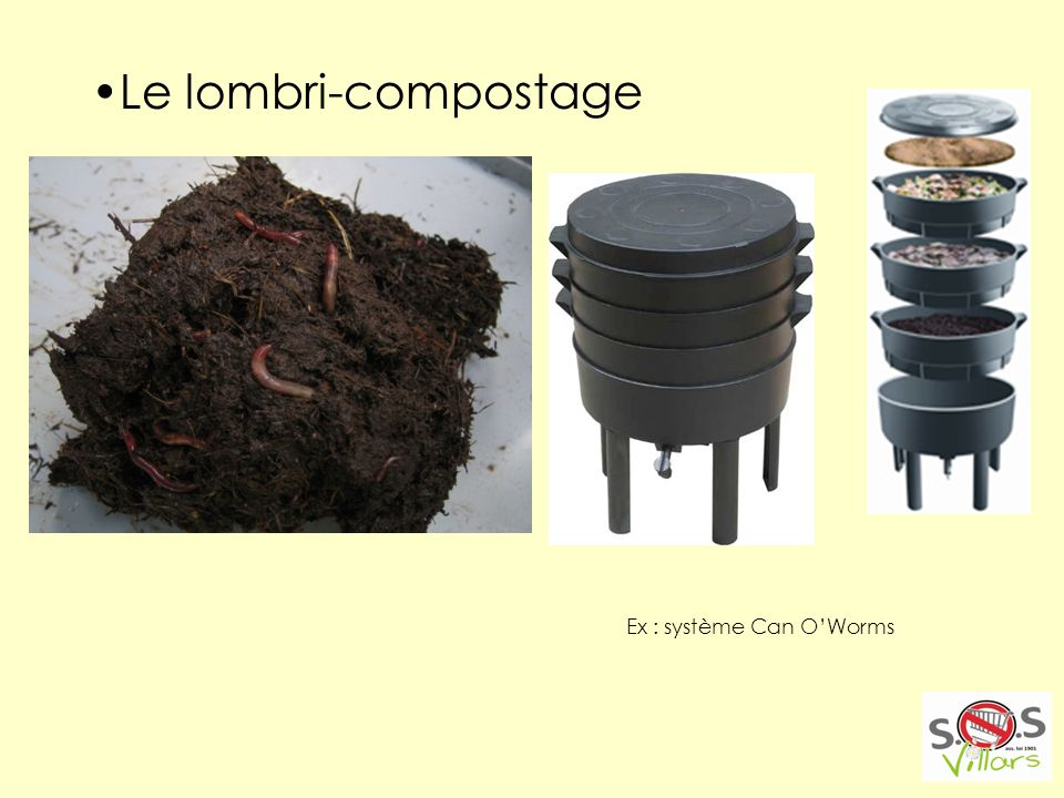 Le lombri-compostage Ex : système Can OWorms